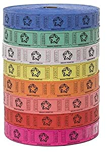 Raffle Tickets - (4 Rolls of 2000 Tickets) 8,000 Total Star Raffle Tickets (4 Assorted Colors)