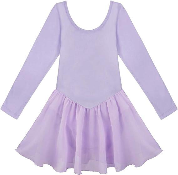 CHICTRY Vestido de Danza Ballet Niñas Vestido de Algodón Manga ...