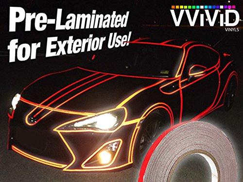 (VViViD Reflective Fine Line Detail Tape Stripe 1cm x 3m Prelaminated for Interior/Exterior Use (Red) )