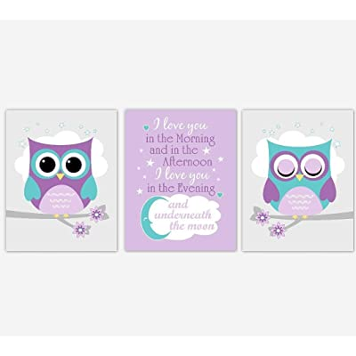 Baby Girl Nursery Wall Art Purple Teal Owls I Love you In the Morning Decor 3 UNFRAMED PRINTS: Handmade