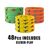 48 Pack Dinosaur Silicone Wristbands Bracelets,Birthday Party Favors for Kids,Goody Bag Supplies for Boys and Girls, Dinosaur Party Supplies ,Novelty Rubber Wristband