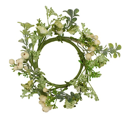 7.5-inch (3.5-inch Inner Ring) Artificial Ophelia Candlering Candle Ring Cream Candle Ring Cream