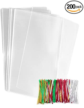 Amazon.com: 200 Plástico Transparente Bolsas de celofán con ...