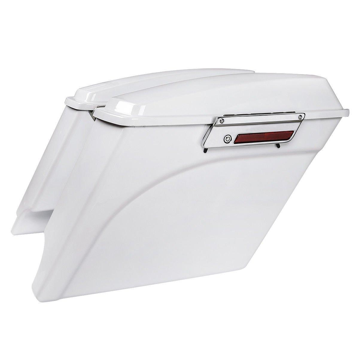 TCMT 5'' Extended Saddlebag Trunk W/Lids White Fits For Harley Touring Electra Glide 93-13