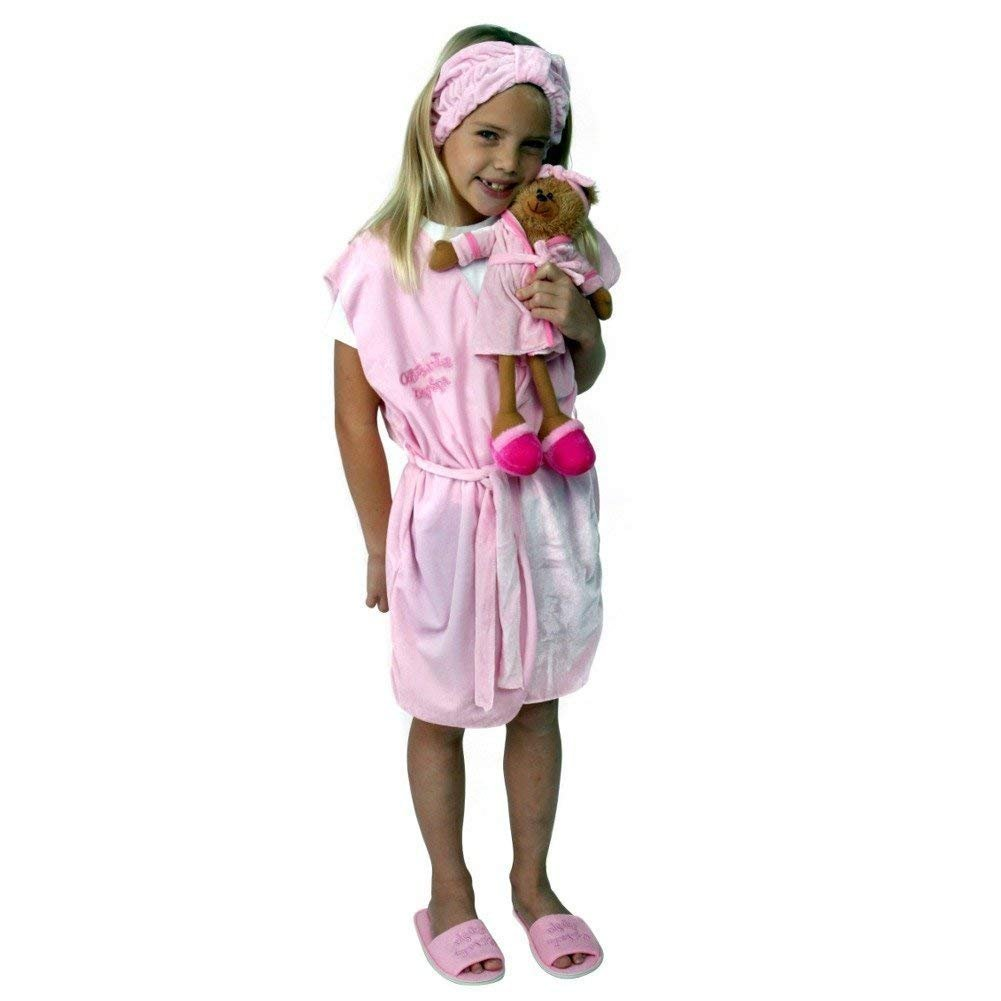 Making Believe Girls Day Spa Party Pack - 8 Robes/Headbands, 8 spa Bears, 8 Slippers (S/M, Pink)