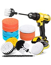 Epzia 16 Pcs Drill Brush Car Detailing Kit - Car Polishing & Buffing Pads Kit - Soft Bristle Power Scrubber with Extend Attachment for Cleaning Car Interior, Boat, Carpet Upholstery, Bathroom