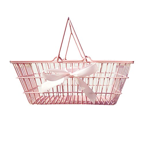 Pink Iron Wire Storage Basket with Bowknot Tabletop Storage Basket Holder for Photography Photo Shoot