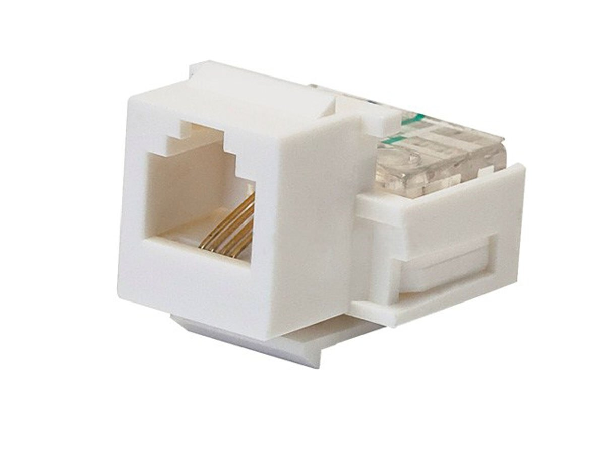 Monoprice Rj 11 Toolless Keystone Jack White 107288 Wiring Diagram In Addition Rj11 Telephone Computers Accessories