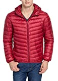Cheering Men's Hooded Down Jacket Packable Winter Coat