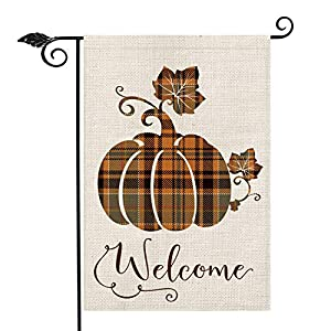 AVOIN Fall Buffalo Check Plaid Pumpkin Garden Flag Vertical Double Sided Welcome Quote, Seasonal Autumn Vintage…