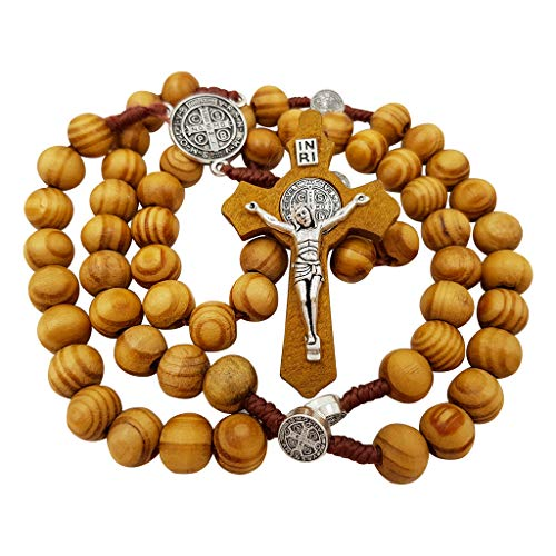 Talisman4U Olive Wood Rosary Beads Catholic Necklace with Saint Benedict Medal & Cross Crucifix in Blue Velvet Rosary Pouch
