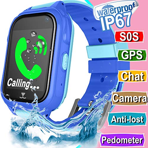 Kid Smart Watch GPS Tracker for Girls Boys Children Phone Watch with SIM Slot IP67 Waterproof SOS Camera Anti-Lost Game Smartwatch Kid Fitness Tracker Finder Locator Toys Compatible for (Blue)