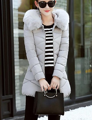 Gray Sleeves Chic Cotton 3XL Casual Padded ZHUDJ Street Out Coat Polypropylene Going Regular Women'S Long Daily Solid 6n8qaA
