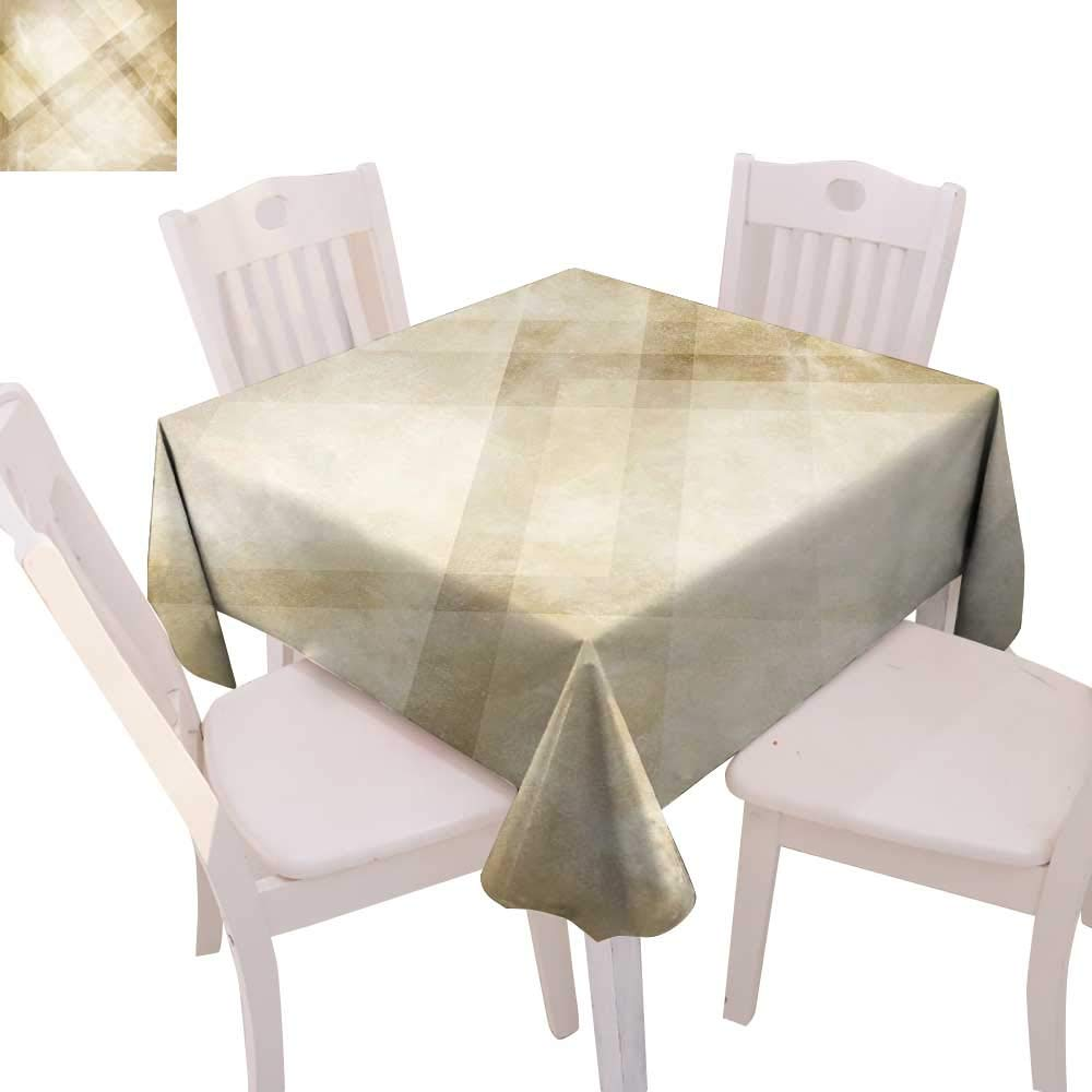 """cobeDecor Tan Dinner Picnic Table Cloth Striped Vintage Faded Squares and Angled Lines Dated Antique Display with Modern Pattern Waterproof Table Cover for Kitchen 36""""x36"""" Beige Tan"""