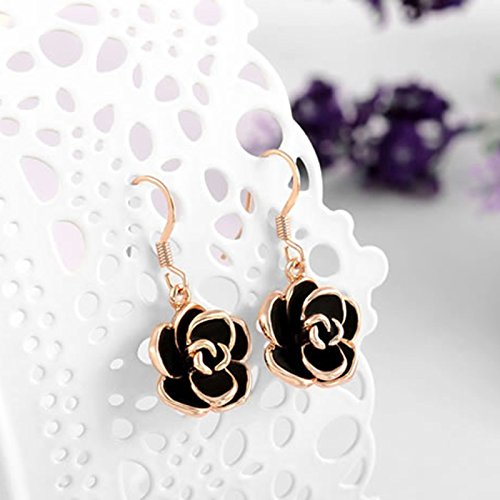 Youlixuess Style Design Fashion Rose Gold Black Rose Flower Drop Earrings For Women Girls Jewelry