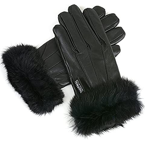 Womens Dressy Leather Gloves Rabbit Fur Trim Warm Thin Thermal Lining Insulation M Black - Fur Leather Gloves