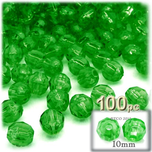 10 Mm Emerald Green - The Crafts Outlet 100-Piece Faceted Plastic Transparent Round Beads, 10mm, Emerald Green