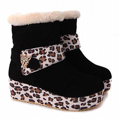 Latasa Dames Chic Luipaard Print Platform Mid Sleehak Kort Koud Weer Laarzen Snow Winter Boots Zwart