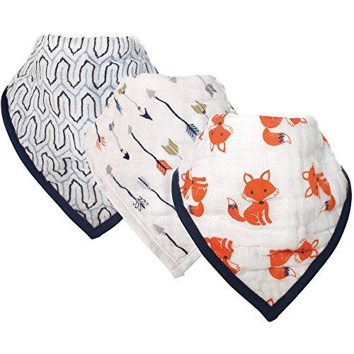 Hudson Baby Muslin Bandana Bib, 3 Pack, Foxes - Fox Baby Bib