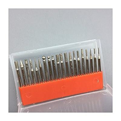 20pcs diamond burrs rotary tool drill bit grinding head dremel accessories bits 150 grit