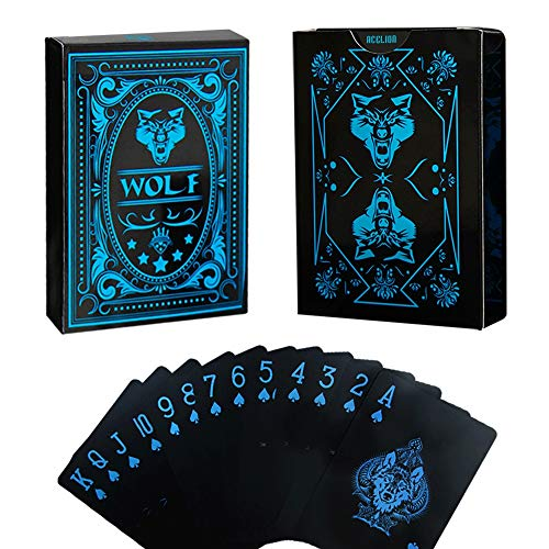 Deck Card Designs - Acelion Playing Cards Wolf Waterproof Black Plastic Poker Playing Gift Cards for Collection