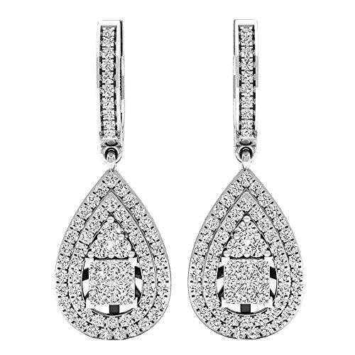 Dazzlingrock Collection 1.10 Carat (ctw) 14K Princess & Round White Diamond Ladies Dangling Drop Earrings 1 CT, White Gold