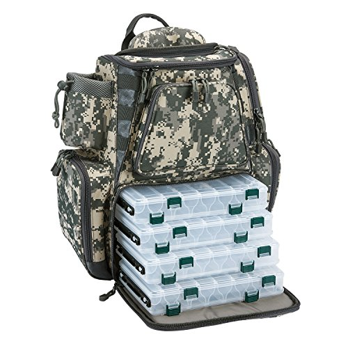 Piscifun Fishing Tackle Backpack with 4 Trays Large Capacity Waterproof Fishing Tackle Bag with 4 Tackle Boxes and Protective Rain Cover Digital Camouflage