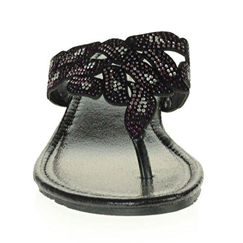 Décontractée des Confort Poids pourpre Diamante Open Glisser sur léger Dames Femmes Taille Diamante Sandales Toe Talon Cristal compensé Chaussures Noire WnqpzYX1O