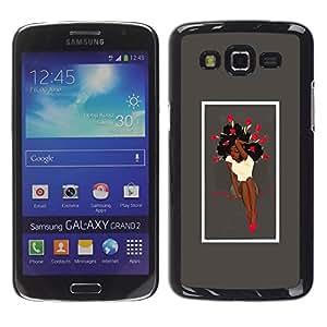 GOODTHINGS Funda Imagen Diseño Carcasa Tapa Trasera Negro Cover Skin Case para Samsung Galaxy Grand 2 SM-G7102 SM-G7105 - rosas mujer femenina falda chica labios rojos