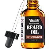 Spiced Sandalwood Beard Oil & Leave In Conditioner, 100% Pure Natural Organic for Groomed Beards, Mustaches, and Moisturized Skin 1 oz by Ranger Grooming Co by Leven Rose