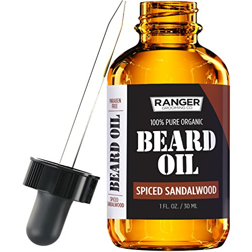 Spiced Sandalwood Beard Oil & Leave In Conditioner, 100% Pure Natural Organic for Groomed Beards, Mustaches, and Moisturized Skin 1 oz by Ranger Grooming Co by Leven - Beards And Cool Mustaches
