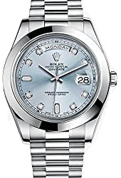 Rolex Day-Date II 41 President Platinum Watch Ice Blue Diamond Dial 218206