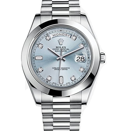 Rolex Day-Date II 41 President Platinum Watch Ice Blue Diamond Dial 218206