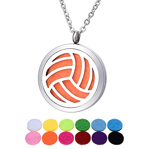 Essential Oil Diffuser Necklace Stainless Steel Volleyball Aromatherapy Locket Pendant Jewelry Teen Girls Gifts - Round 30mm (Volleyball Locket)