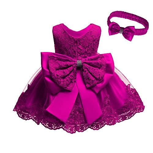 Baptism Baby Girls Dresses 12 Months Flower Dress for Girl Baby Girl Dresses Sleeveless Lace Tutu Dress for Infant Kids Wedding Party Dress Cute Frocks Headband 1th Birthday Party Dress (Rose 12M) ()