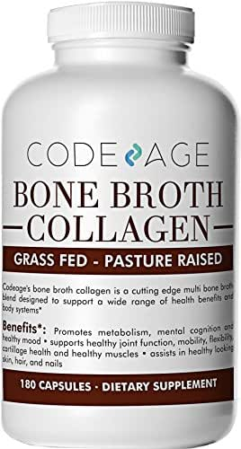 Organic Multi Bone Broth Collagen Capsules, 180 Count — On-The-Go Protein Supplement — Joint Comfort, Flexibility and Cartilage Health
