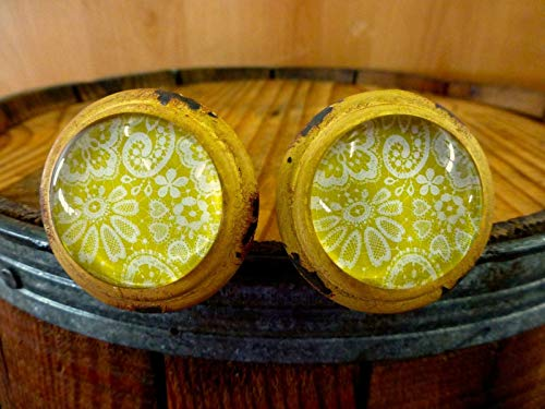 2 Yellow-White LACE Glass Drawer Cabinet PULLS KNOBS Vintage Distressed Hardware Distressed Antique Brass Cup Pulls