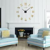 FAS1 Modern DIY Large Wall Clock Big Watch Decal 3D Stickers Roman Numerals Mute Wall Clock Home Office Removable Decoration - Gold (Battery NOT Included)
