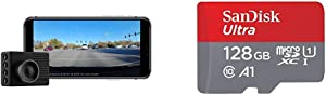 Garmin Dash Cam 46, Wide 140-Degree Field of View in 1080P HD, Very Compact with Automatic Incident Detection and Recording & SanDisk 128GB Ultra microSDXC UHS-I Memory Card with Adapter