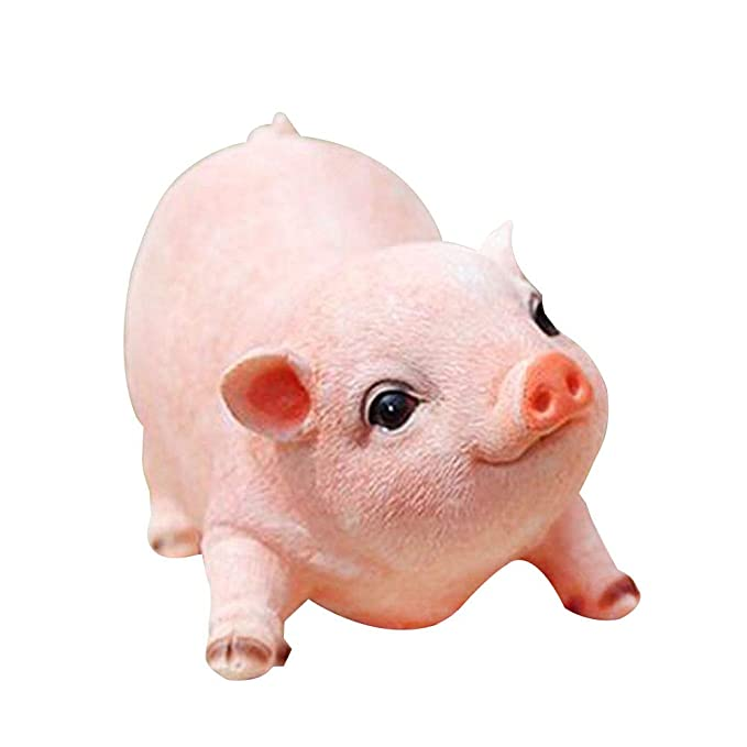 Agirlgle Animal Garden Statue - Cute Pig - Funny Outdoor Sculpture Resin Lawn Ornaments Decor - Best Indoor Outdoor Figurines for Patio Yard and House