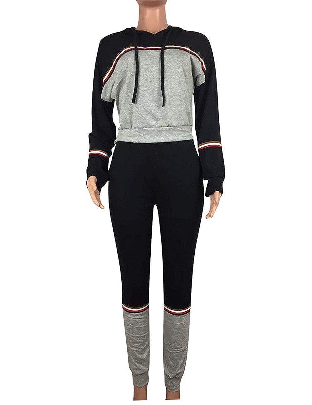 008e32a6eee 2Pcs Womens Hoodies Sport Tops Pants Tracksuit Sweatshirt Sweat Suit  Jogging Set at Amazon Women's Clothing store: