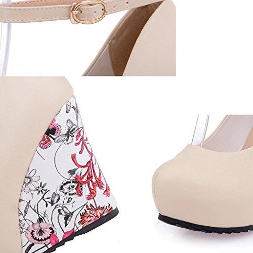 Chaussures Femmes Wedge Printemps À Slope Décontractées Chaussures Talons Shallow L'automne pour Mouth PU Beige Chaussures escarpins PwHvqTH