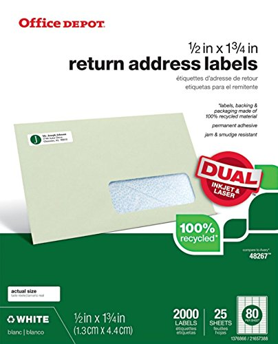 Office Depot Brand 100% Recycled Mailing Labels, OD99313, 1/2