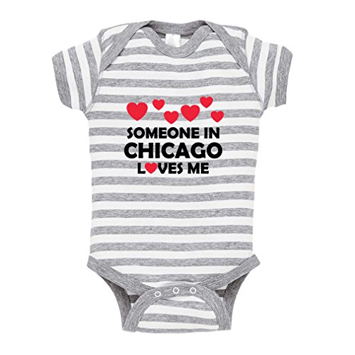 Someone in Chicago Loves Me Style 2 Baby Kid Stripe Fine Jersey Bodysuit Grey 18 Months