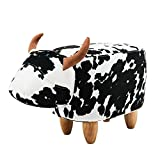 PIQUU Padded Soft Cow Ottoman Footrest Stool/Bench for Kids Gift and Adults (Black and White)