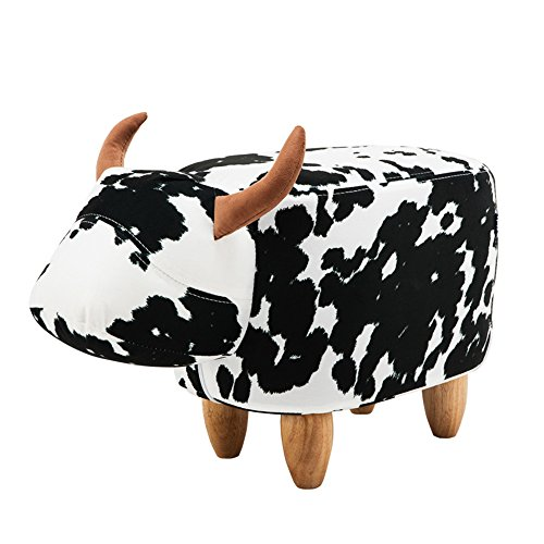 PIQUU Padded Soft Cow Ottoman Footrest Stool/Bench for Kids Gift and Adults (Black and White) by PIQUU