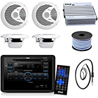 Pyle PLRVST300 RV Wall Mount Bluetooth CD/DVD Receiver Bundle Combo With 4x White 6-1/2 Dual Cone Waterproof Stereo Speaker + Enrock Radio Antenna + 400 Watt Amplifier +18G 50-FT Wire