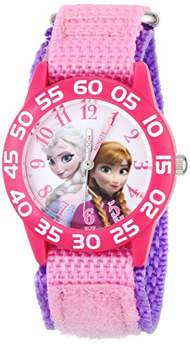 - Disney Kids' W001790 Frozen Elsa and Anna Watch, Pink Nylon Band