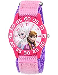 Kids' W001790 Frozen Elsa and Anna Watch, Pink Nylon Band