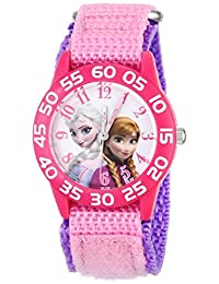 Disney Kid's W001790 Frozen Elsa and Anna Watch, Pink Nylon Band